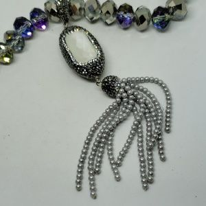Smoky gray fire-polished crystal necklace with det